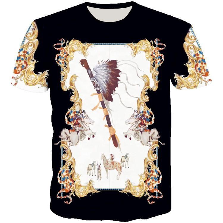 Estate nuova stampato manica corta fiore d'oro pattern rete giovanile sociale T-shirt rossa grande stile personalizzato
