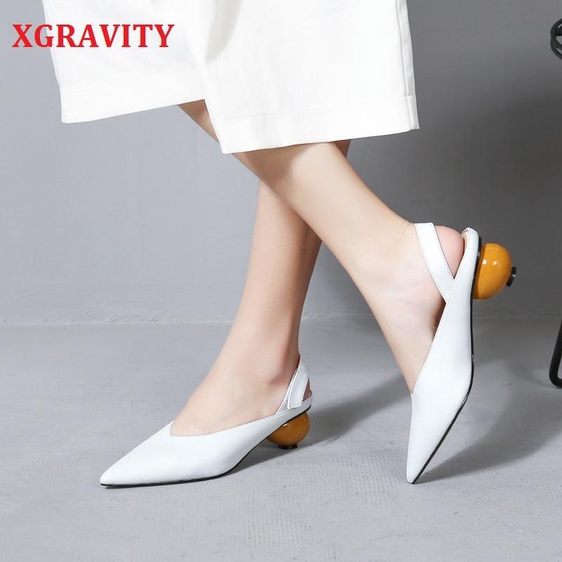 XGRAVITY 2020 nuovo V donne di disegno nuovo di modo Scarpe a punta Scarpa Sandali estate delle signore delle donne dell'alto tallone Heels anormale A088