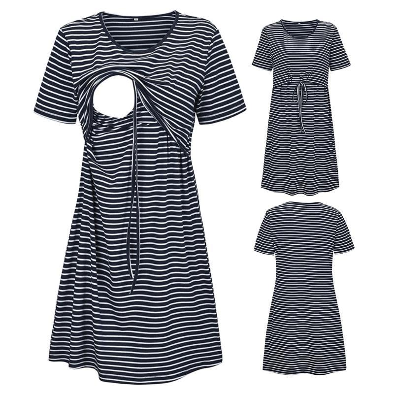 Women's maternity clothes dress female Short Sleeve Striped Print Nursing Dress For Breastfeeding clothes for nursing 20JUN609