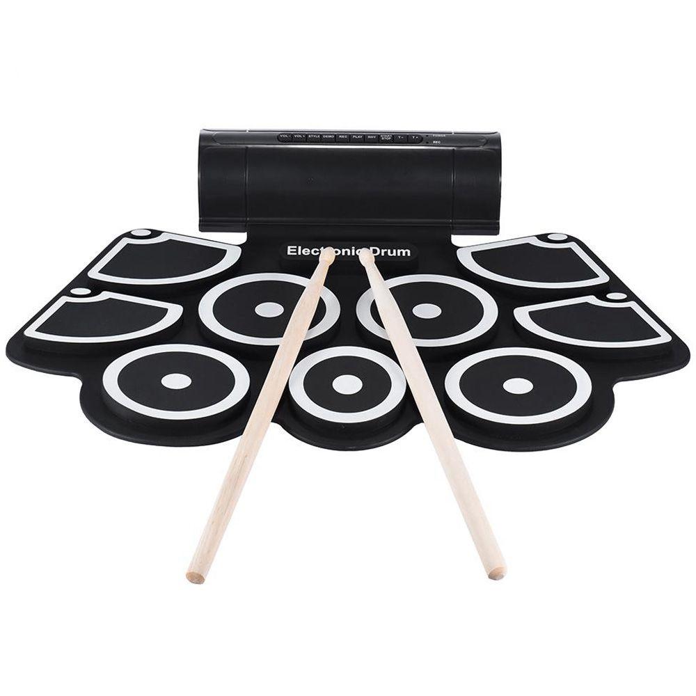 Set di pad per batteria portatile roll up elettronico con 9 pad in silicone Altoparlanti incorporati con bacchette Pedali Usb 3.5Mm Cavo audio Uk