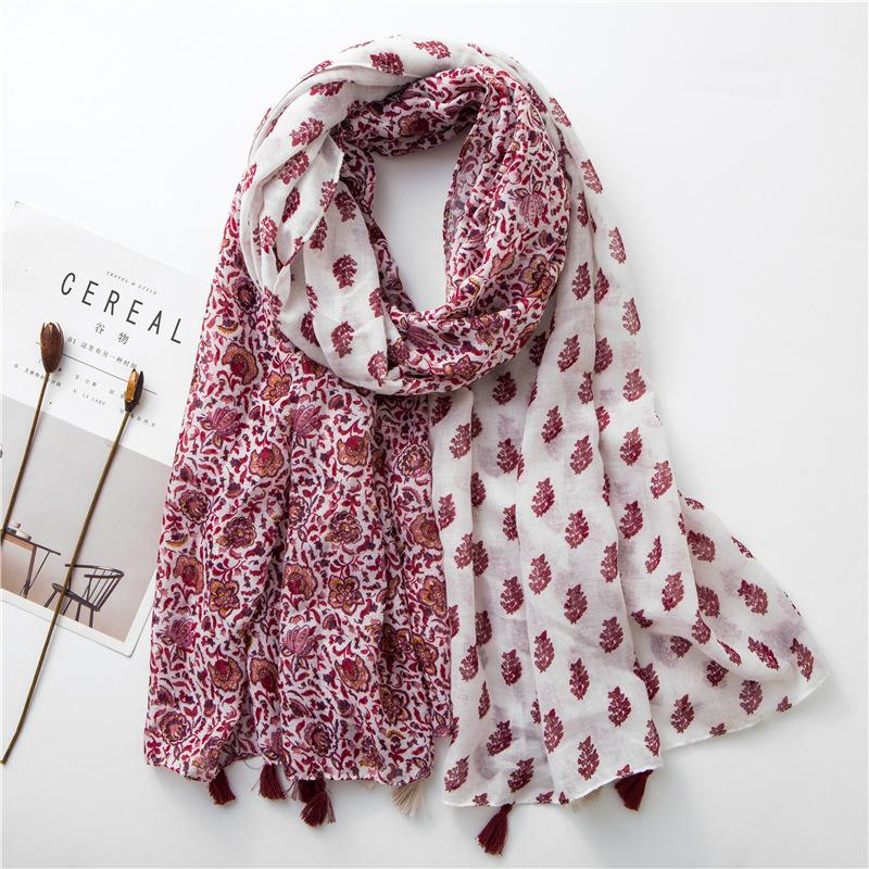 Women Floral Scarf Patched Color Stylish Soft Shawl for Ladies Thin Design Beach Scarves NEW
