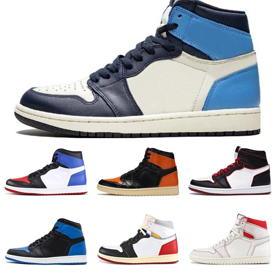 Mid Og 1 Men Jumpman Basketball Shoes 1S Homage To Home Banned Bred Chicago Royal Blue Shattered Backboard Pass The Torch Sneakers #QA673