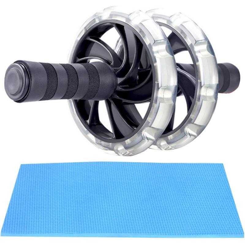 Rolo silenciosa Poder AB Rollers interior Muscle Fitness Equipment abdominal exercício equipamentos Transparente Dupla Rodas