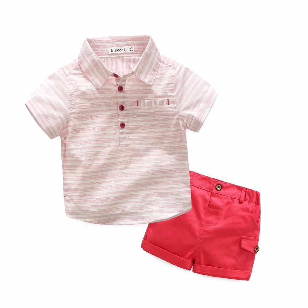 Ropa de niño 2 piezas Conjuntos Ropa de verano para niños Tiras de algodón Camiseta de manga corta + Pantalones Ropa para niños pequeños Trajes rojo
