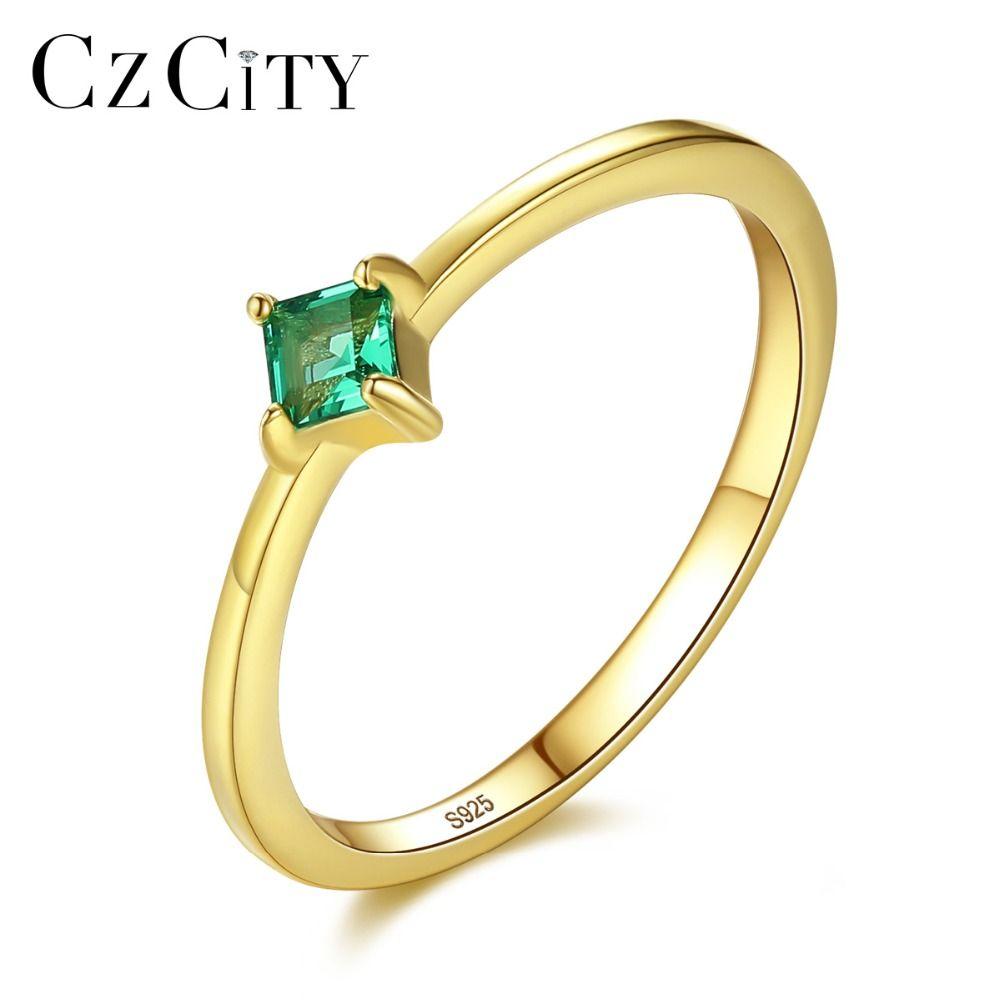 Forma CZCITY Praça VVS Anéis do verde esmeralda para Dedo Mulheres Real Color 925 Prata anel de ouro no Presentes do aniversário de anel