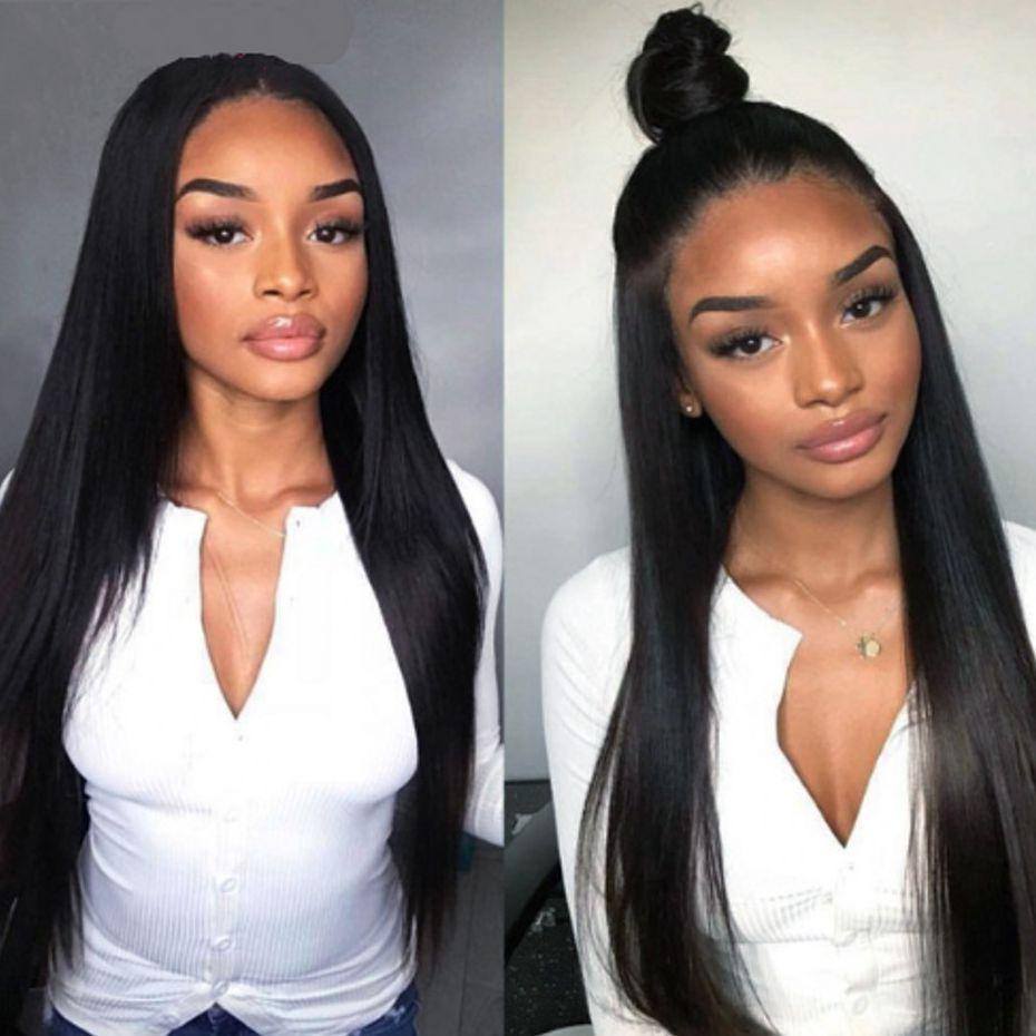 Brazilian Lace Front Human Hair Wigs for Black Women Full Lace Straight Wig with Baby Hair Natural Hairline