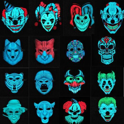 UK Sound Reactive LED Mask Sound Activated Street Dance Rave EDM Plur Party Mask