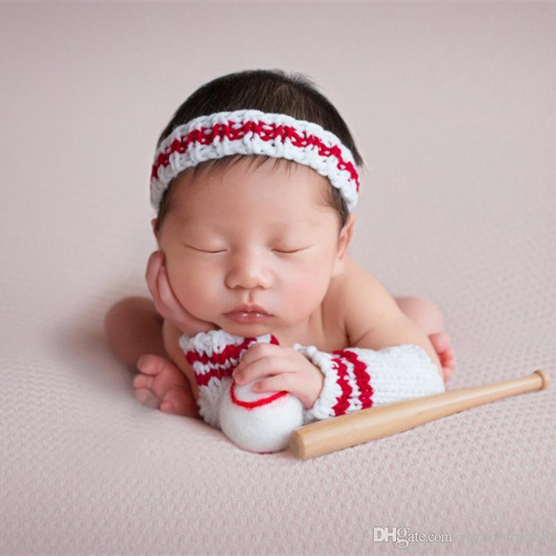 Newborn prop baseball costume baby photography accessories new born photo crochet outfit infant picture toddler picture shooting fotografia