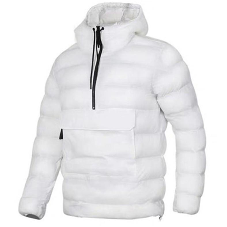 Fieer Mens Velvet Pocket Solid Thick Zip Warm Hooded Down Outwear