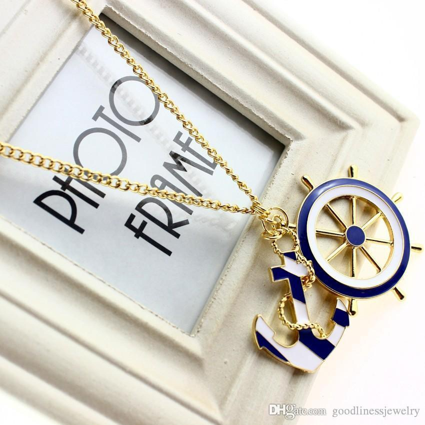 Necklaces & Pendants New Jewelry Fashion Texture Blue Navy Style Anchor Exaggerated Personality Pendant Statement beautiful Necklace