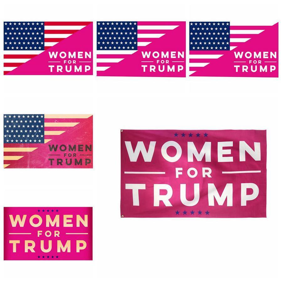 Femme pour Trump Flag 150 * 90cm Polyester Rose Donald Trump Président Bannière Drapeaux 6 Styles Accueil Décorations LJJO7605-6