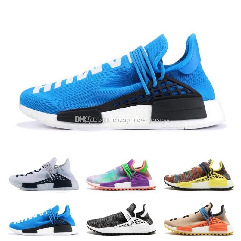 atacado MD Raça Humana Pharrell Williams X dos homens Running Shoes desconto mens Atlético baratos Outdoor Training Esporte Sneaker Shoes navio livre