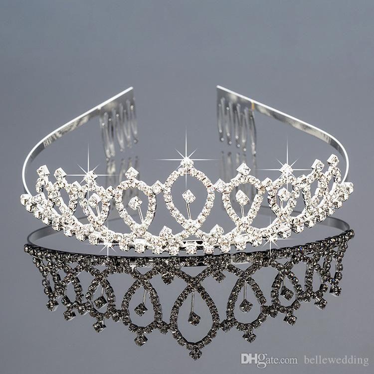 Gelin Çelenkler Rhinestones Ile Taçlar Gelin Takı Kızlar Akşam Balo Parti Performans Pageant Kristal Düğün Tiaras DB-ZH032