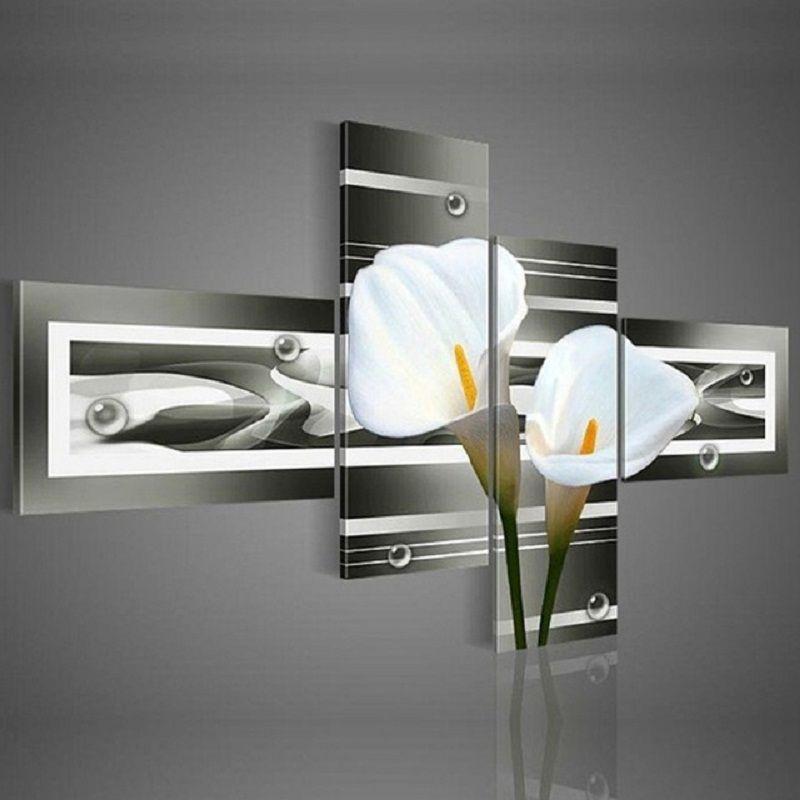handgemalte wandkunst schwarz Reine weiße lilien dekoration landschaft ölgemälde auf leinwand 4 stücke gesetzt DY-045