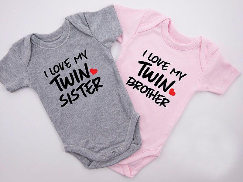 DERMSPE Yeni Casual Yenidoğan Bebek Erkekler Kızlar Kısa Kollu Letter I Love My Twin Kardeş Pamuk Romper Bebek Giyim Sıcak Baskı