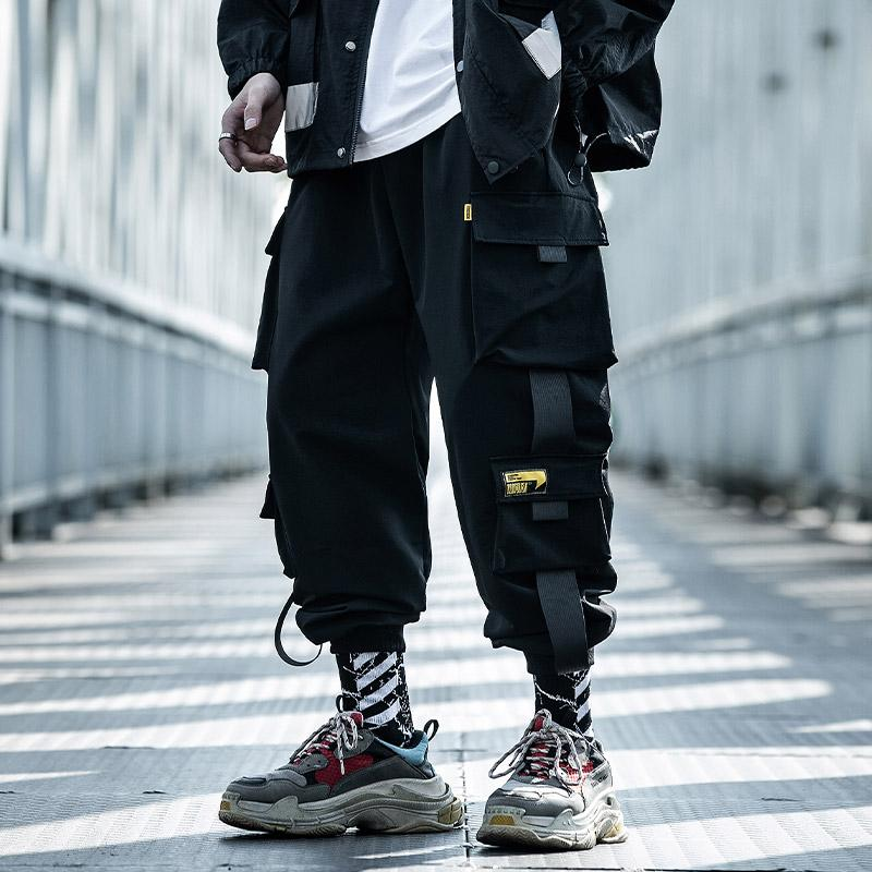 2019 Hip Hip Pants Black Men Harajuku Pantalon Joggers Streetwear couleur Pantalon bloc