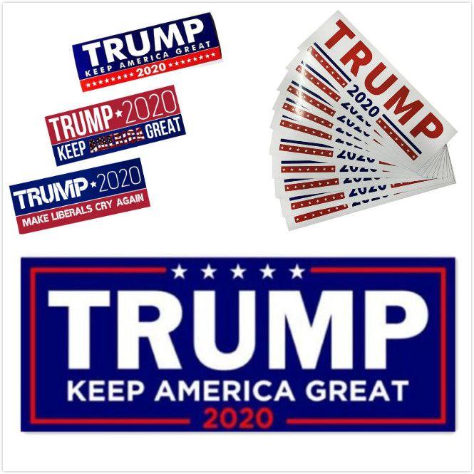 HOT 5 Styles Donald Trump 2020 Autoétiquettes 7,6 * 22.9cm Bumper Sticker mural Gardez Marque Amérique Grande Decal pour Car Styling Véhicule Paster DHL