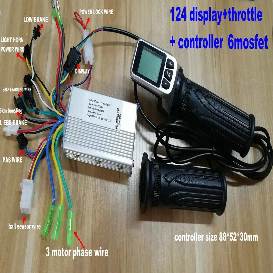 24v36v48v écran LCD 124DX avec le contrôleur de moteur throttleBLDC 250w350w pour scooter électrique pliable vélo électrique vélo