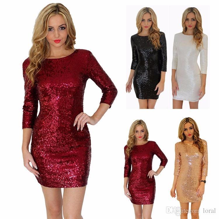 Kadınlar Ç Yaka Uzun Kollu madeni pul Sequins Backless BODYCON İnce Kalem Parti Elbise Y190117 için Seksi Elbise