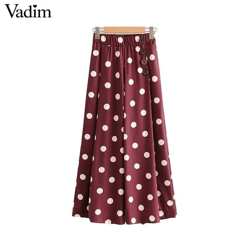 Vadim Women Elegant Dot Print Wide Leg Pants Button Pockets Elastic Waist Female Casual Trousers Mujer Ka805 Y19071801