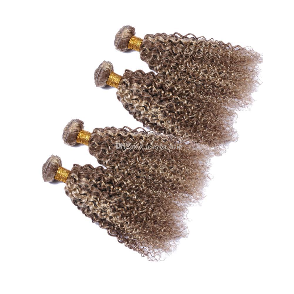 Doble Wefted coloreado rizado rizado tramas de cabello humano Rubio 613 y Ash Brown 8 Virgin Hair humano rizado teje extensiones 4pcs
