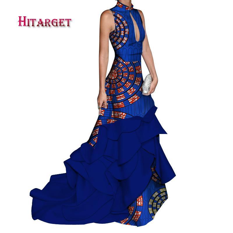 africa abiti per le donne giuntura lunga sexy con abito senza maniche Mopping fishtail africa dashiki vestiti africani per le donneWY3722