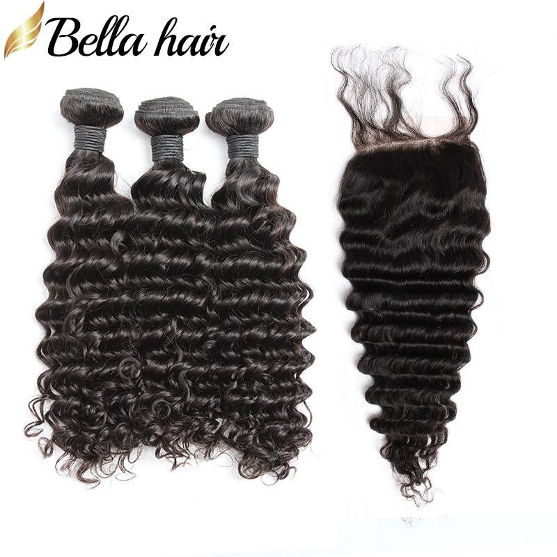 브라질 버진 헤어 짜다 확장 3 번 클로저 4x4 탑 레이스 폐쇄 딥 웨이브 인간의 머리카락 Weft 4pcs / lot Bella Hair