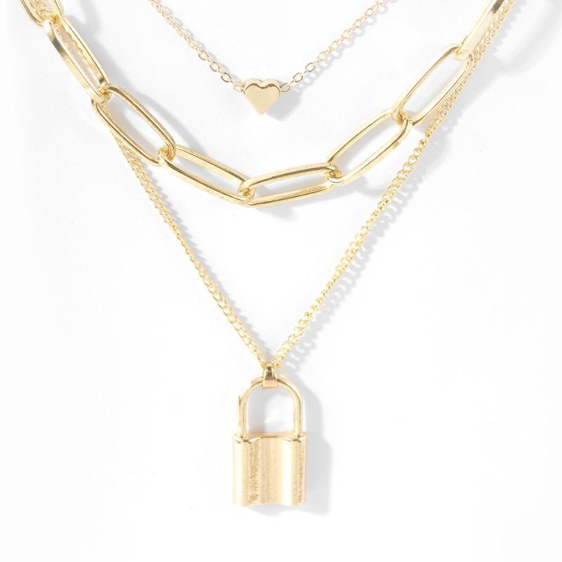Мода преувеличение персик сердце замок кулон многослойный сплав ожерелье личность геометрическая цепь Шарм Ожерелье для женщин