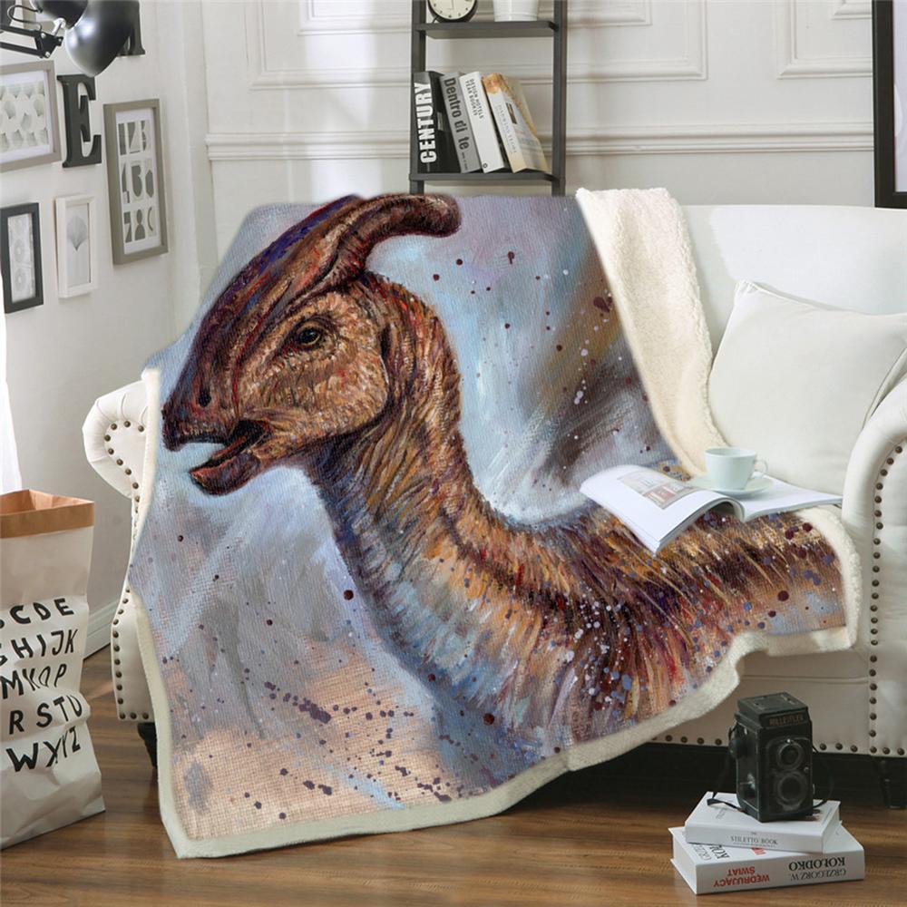 EHOMEBUY2019New 3D سلسلة الديناصور المطبوعة بطانية البيت الحديث / فندق أزياء الأطفال شخصية أنمي بطانية المخملية القطن