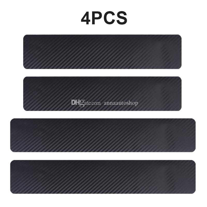 2019 NEW 4PCS 60 x 6.7cm Car Stickers Universal Sill Scuff Anti Scratch Carbon Fiber Auto Door Sticker Decals Car Accessories