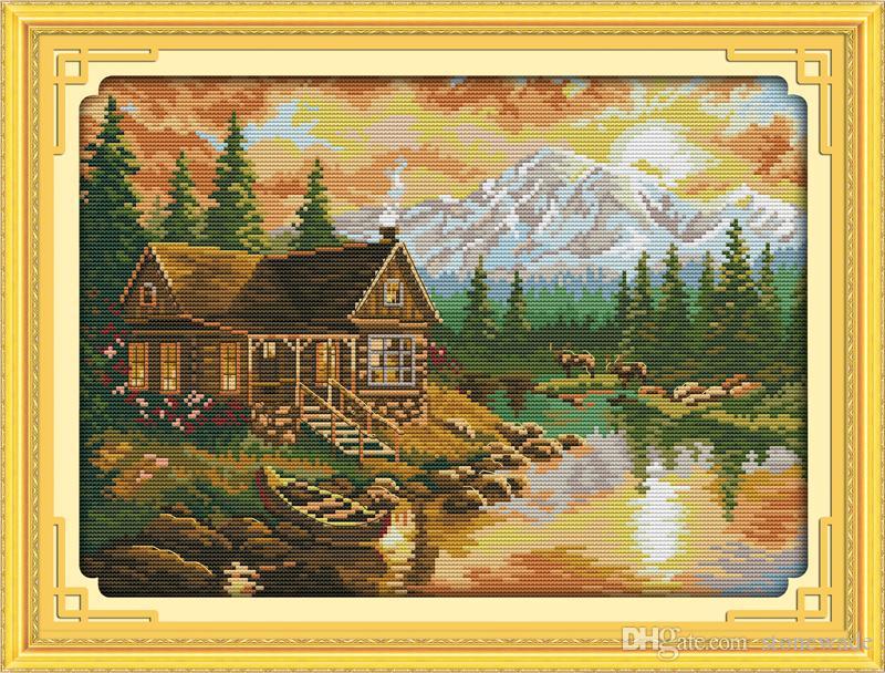 Sunset Scenery decoración para el hogar pintura, bordados a mano punto de cruz bordado conjuntos impresión impresa sobre lienzo DMC 14CT / 11CT