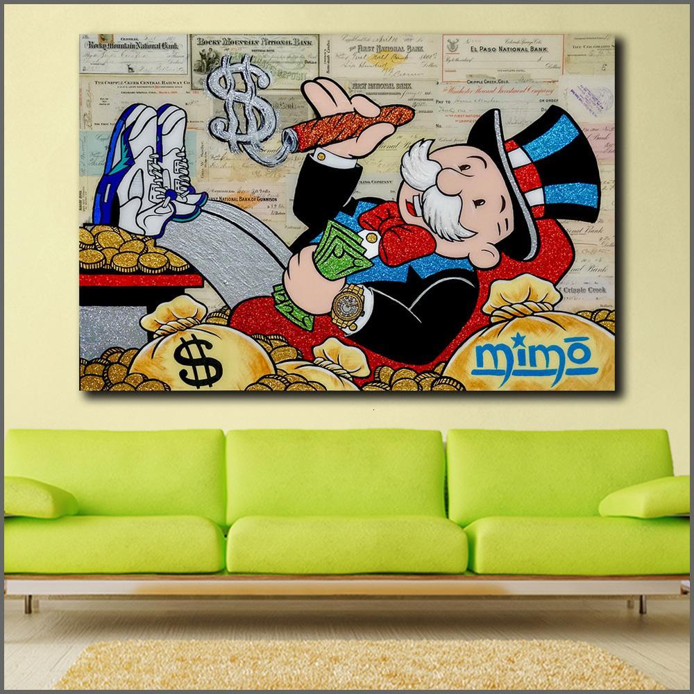 모노 폴리 2 낙서 벽 아트 사진 홈 인테리어 거실 현대 캔버스 인쇄 회화 회화 대형 크기의 오일을 Wlong SH190919
