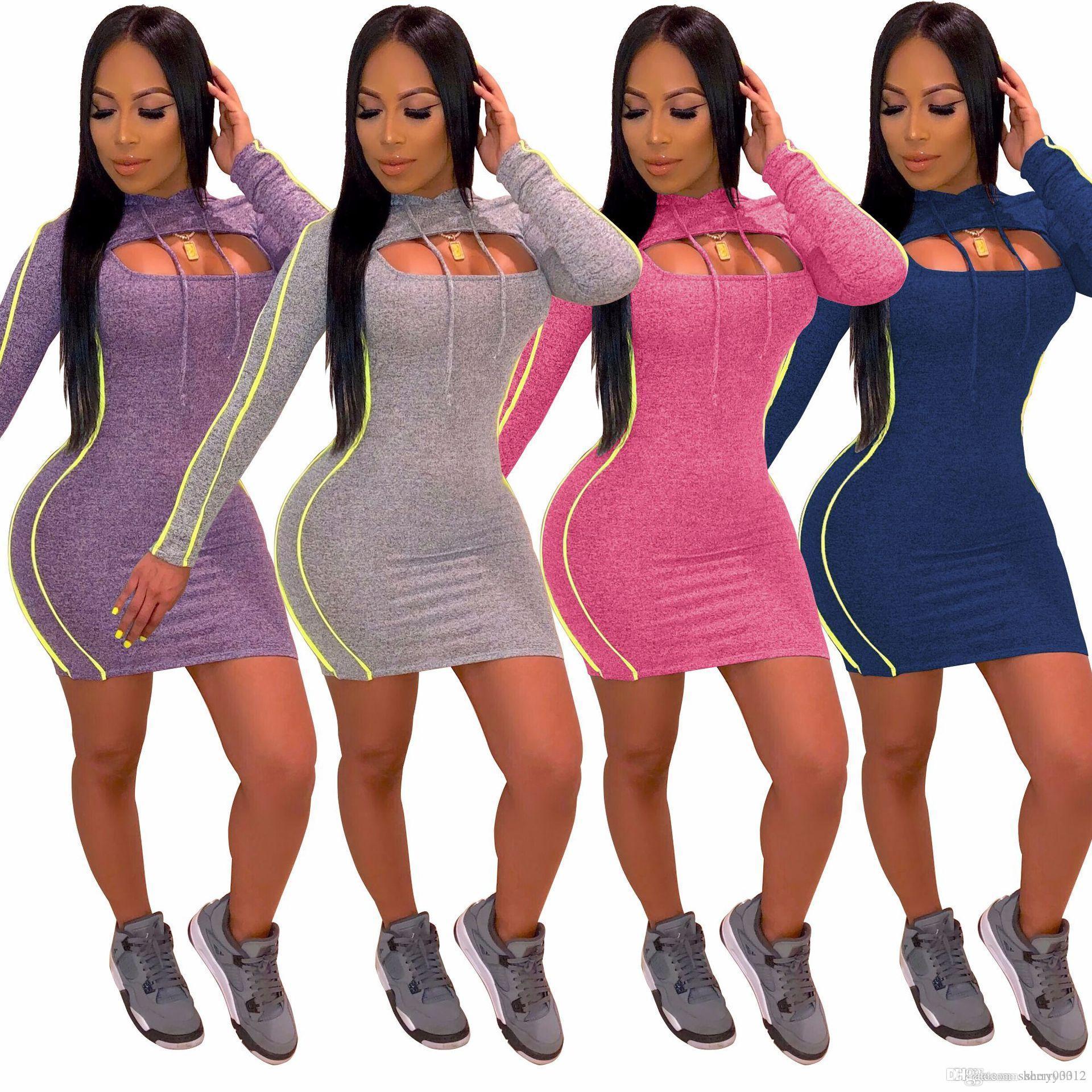 2019 HISIMPLE Новый женский комплект с капюшоном с длинным рукавом Crop Top и Bodycon фрак Эпикировка Vestidos женщины выдолбить передние средние платья