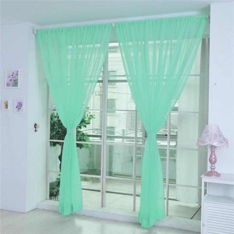 ISHOWTIENDA 1 STÜCKE Reine Farbe Tüll Türfenstervorhang Drapieren Panel Sheer Tüll Vorhänge Für Wohnzimmer Stickerei # SS