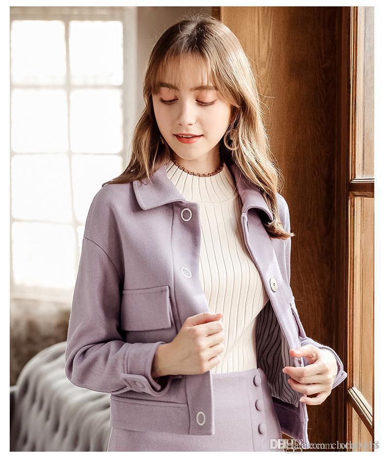 2018 Autunno Inverno nuovo di modo manicotto lungo cappotto di lana donne di monopetto solido del rivestimento di colore Caldo coreano casuale selvaggio cappotto di lana T