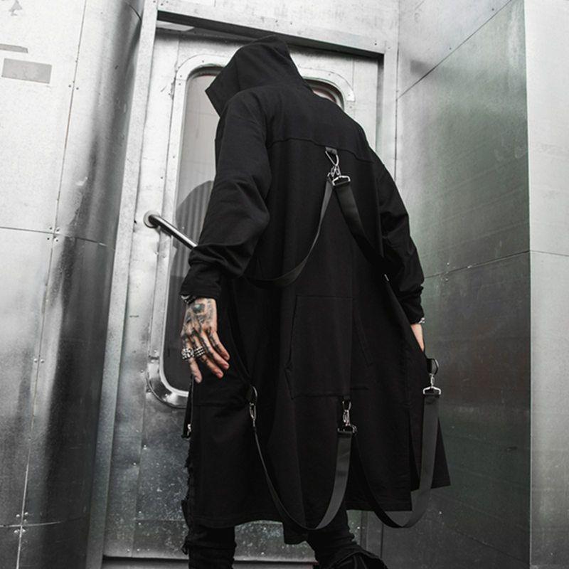 Корейский Street Style Hip Hop Личность красавцев пальто Длинный с капюшоном Ветровка Повседневного Wild Сыпучего Black Outwear