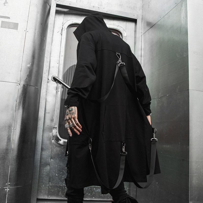Korean Street Style Hip Hop Personnalité Manteau Handsome Men long capuche coupe-vent Décontracté sauvage en vrac Noir Outwear