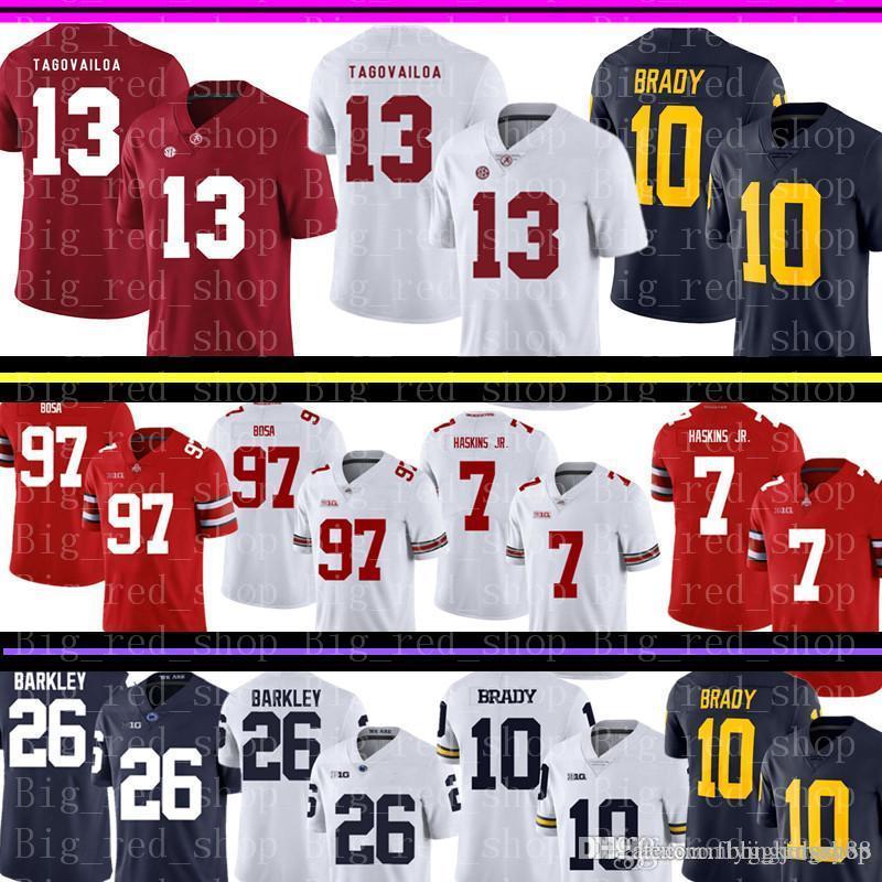 Alabama Crimson Tide 13 Tua Tagovailoa Jersey para hombre de Michigan Wolverines 10 Tom Brady universitarios ventas fútbol jerseys baratos