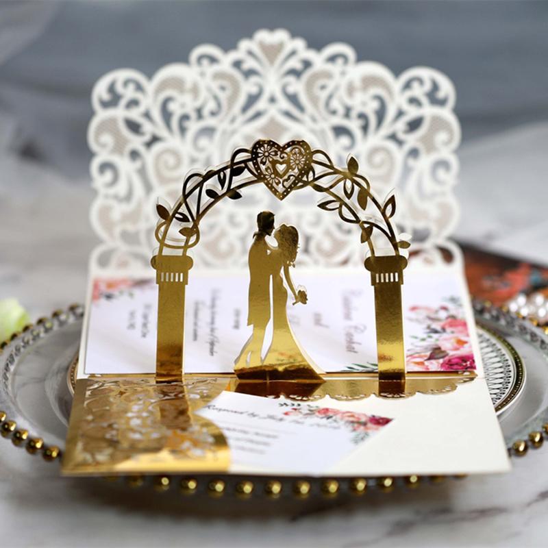 3D свадебные приглашения карты Laser выдалбливают Невеста и жених Отражающие золото приглашения для венчания Обручальное По DHL Горячий продавать
