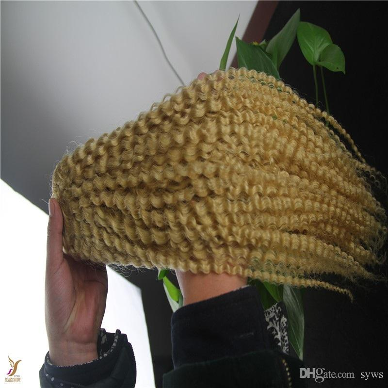 Bleach Blonde Color 100% Kinky Curly Indian Human Hair Weave Bundle 1pcs/100g Unprocessed Double Weft Virgin Hair Extensions