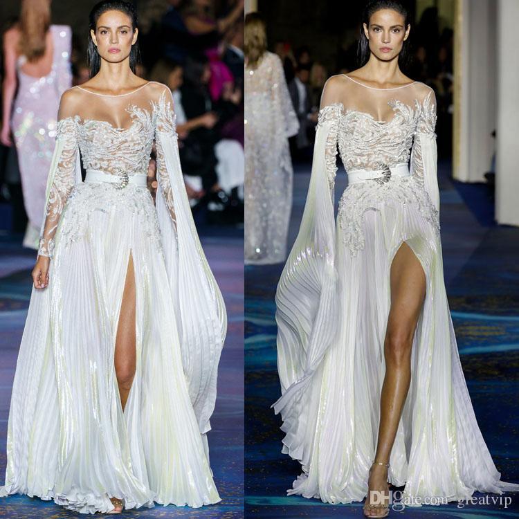 Zuhair Murad de lujo que rebordea la línea vestidos de boda de manga larga escarpada de las lentejuelas cuello Appliqued Vestidos de novia de encaje vestido de novia de Split alto atractivo
