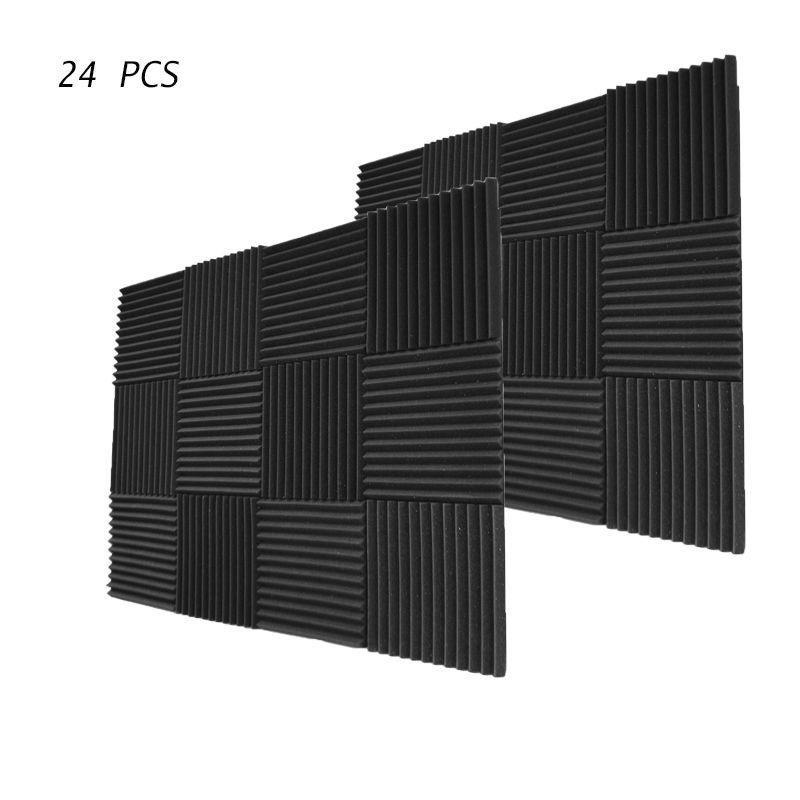 24 шт. Акустическая клиновая звукоизоляционная пена 12 дюймов X 12 дюймов X 1 дюйм с шумопоглощающей пеной