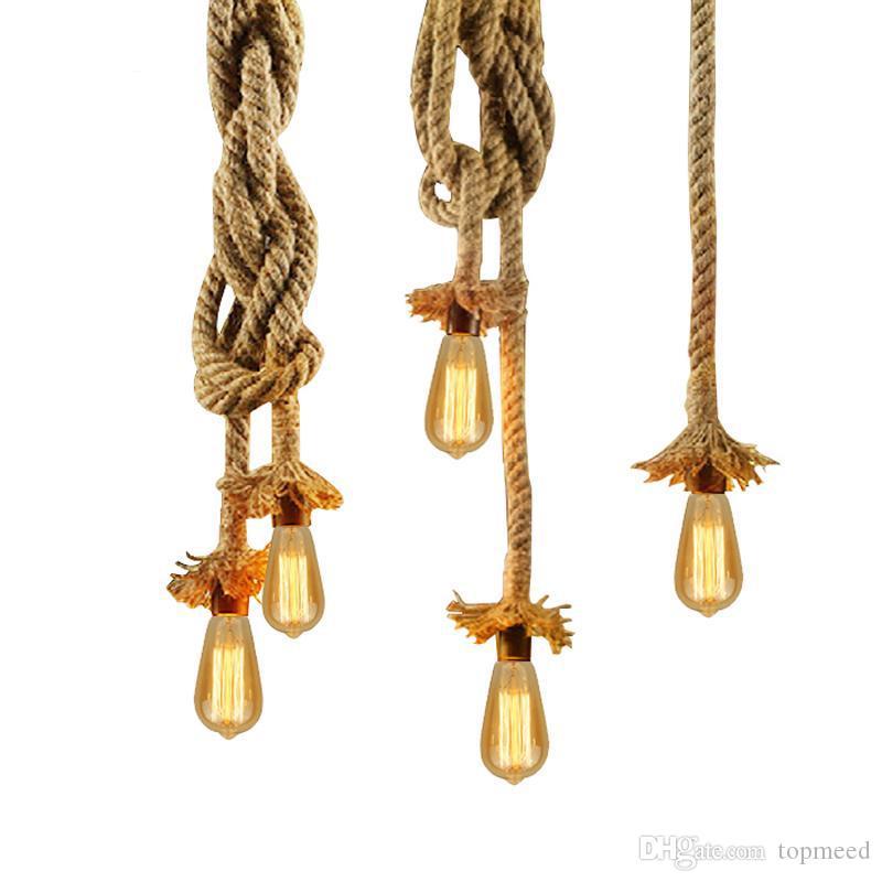 Урожай Веревка Подвеска Свет лампы AC 90-260V Loft творческой личности Промышленные лампы Эдисона лампы американский стиль для гостиной