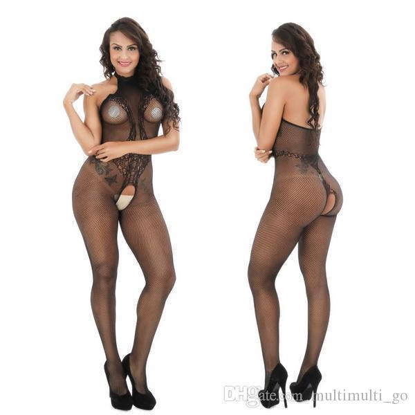 6047 إمرأة أسود انظر من خلال الملابس الداخلية مثير جوارب الجسم الملابس الداخلية جوارب طويلة