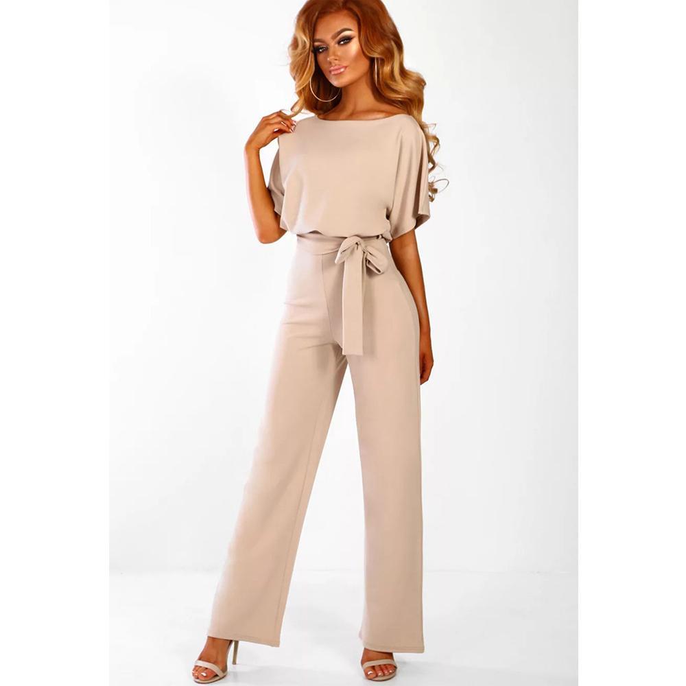 Lungo elegante delle tute donna pantaloni lunghi o collo manica corta taglie forti pagliaccetti vita alta Figura intera Office Lady Salopette Y200422