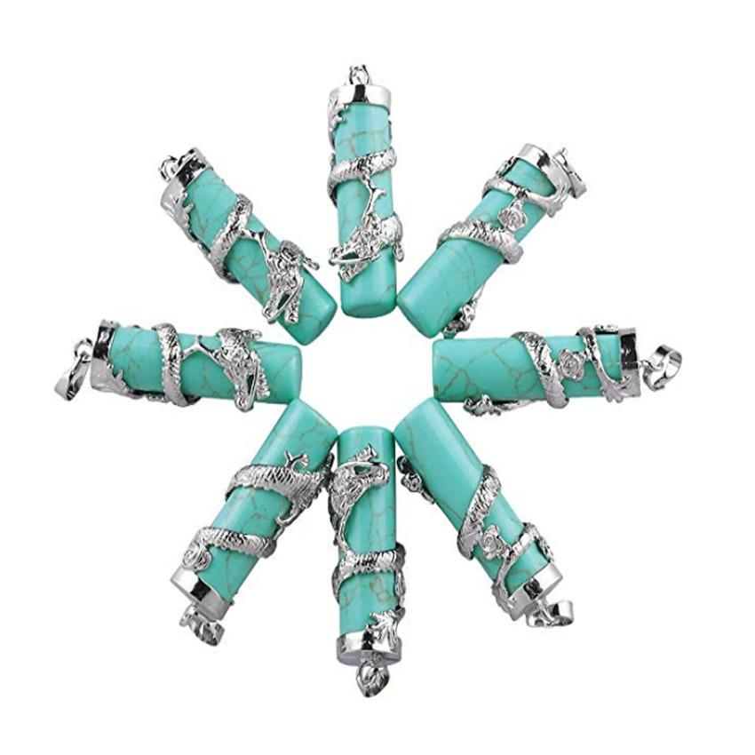 Venta al por mayor 10 piezas de plata plateado de joyería chino Dragón Wrap Cilindro verde turquesa colgante de piedra lapislázuli Classic
