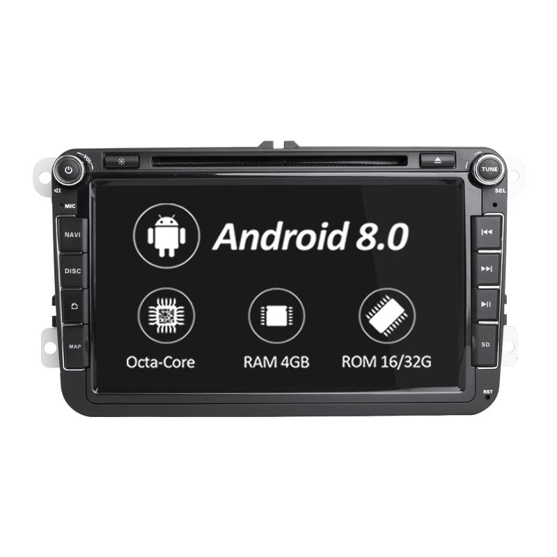 Car Multimedia player 2 Rádio Din GPS Android 8.0 Autoradio Para VW / Volkswagen / POLO / Golfe / Skoda / Octavia / Seat / Leon DSP