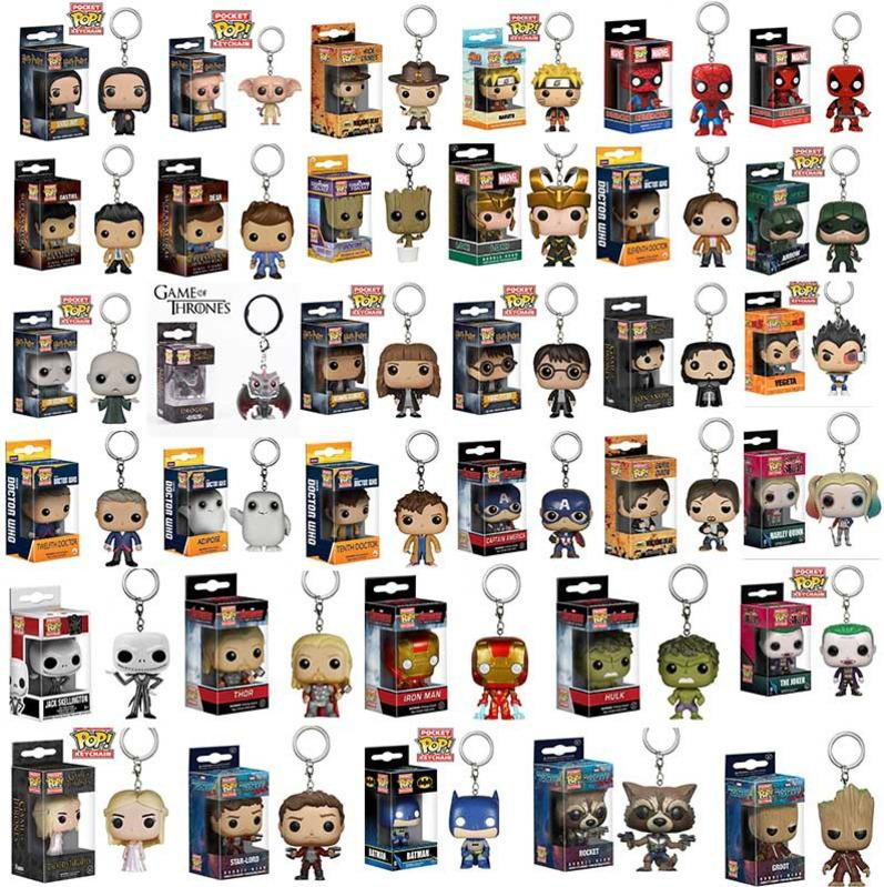 Funko POP Keychain Harry Potter Marvel Super Hero Harley Quinn Deadpool Goku Spiderman Joker Game of Thrones Figurines Toy with box