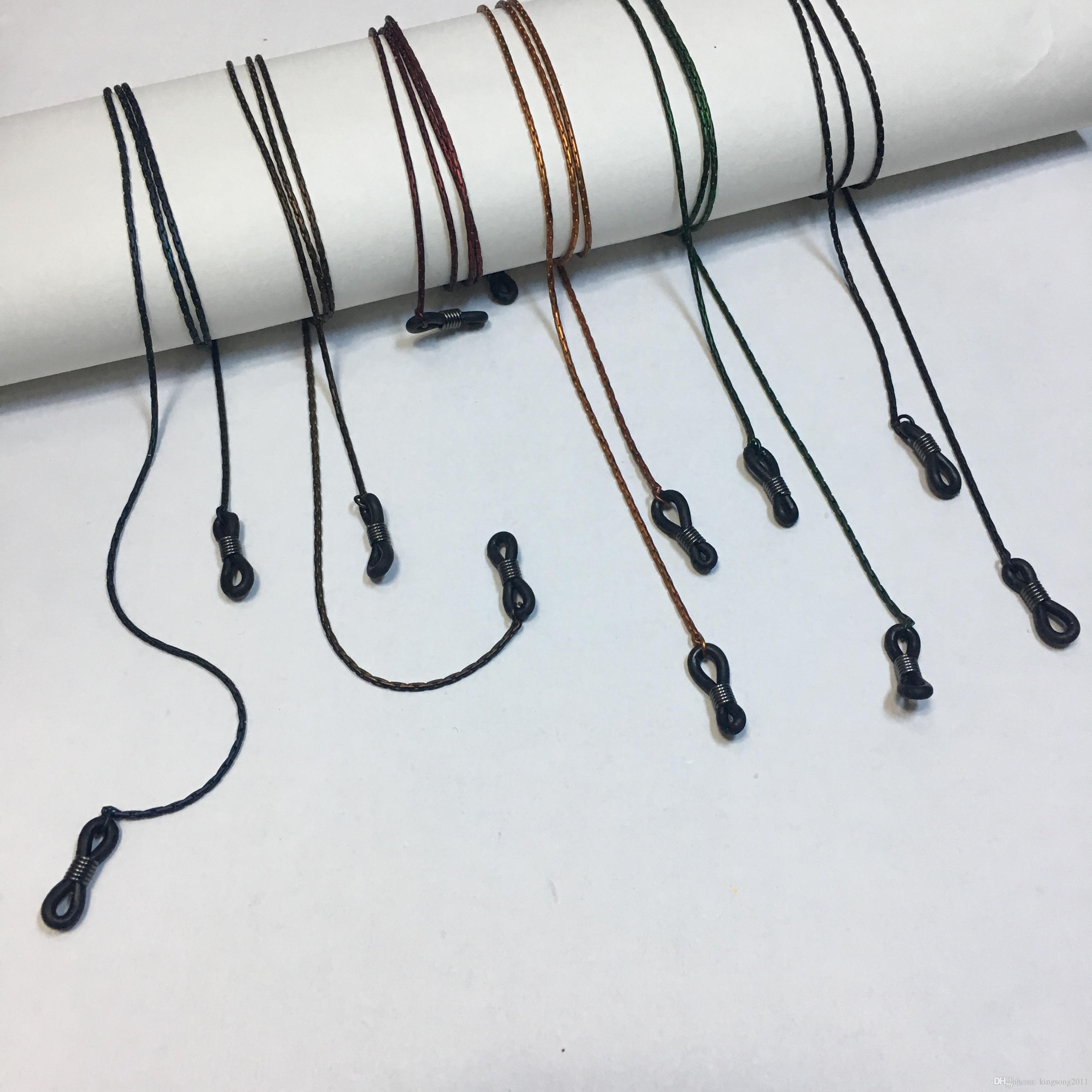 6 assorted sólido colorido óculos de sol de bronze corrente de metal titular retentor de óculos espetáculo de corda com toque de borracha