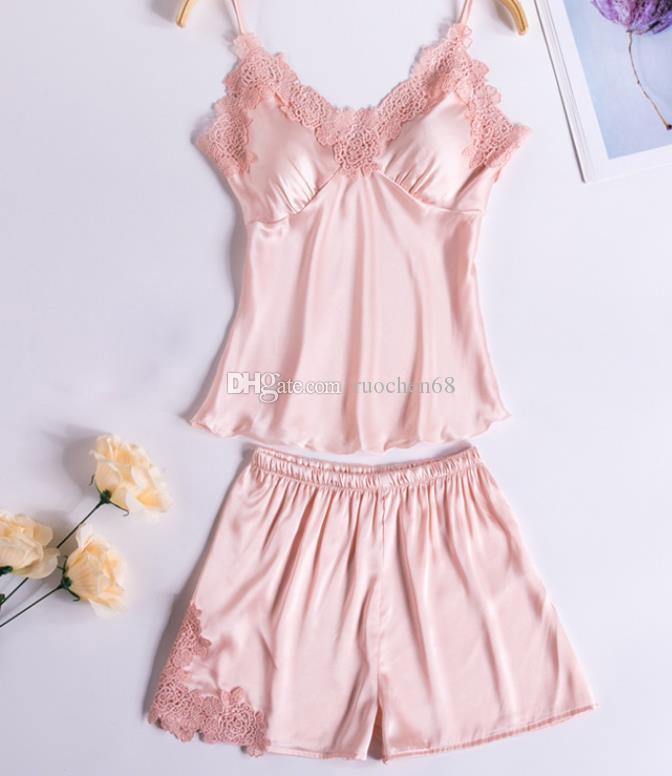 Mulher Sexy Seda Gelo Pijamas Moda Feminina Simulado Seda Casa Terno Camisola Lady Halter pijama Roupão